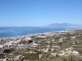 View from Rincon de la Victoria in direction of Malaga andTorremolinos